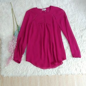1. State Fuschia Cutout Long Sleeve Blouse